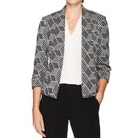 Kasper Black Silver Women's Size 6 Glitter Geo Open Front Jacket