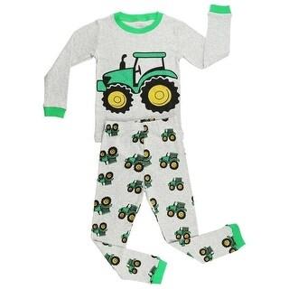 Elowel Boys Grey Tractor Print Long Sleeve Cotton 2 Pc Pajama Set
