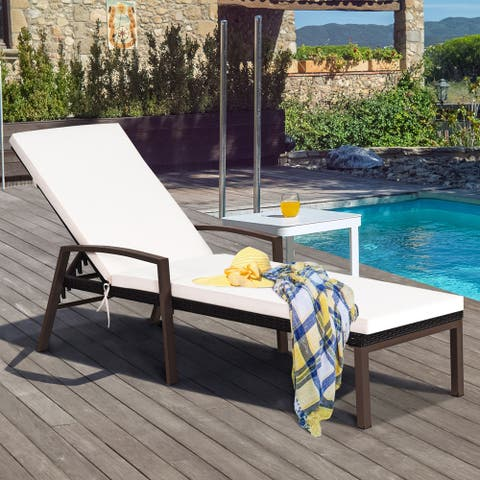 Costway Patio Rattan Lounge Chair Recliner Back Adjustable Cushioned