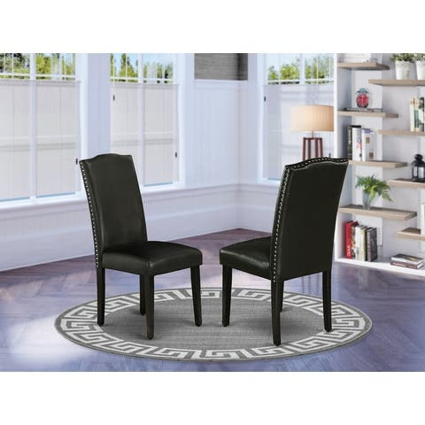 East West Furniture Encinal Parson Chair with Black Leg and Pu Leather Color Black - Set of 2 - ENP1T69