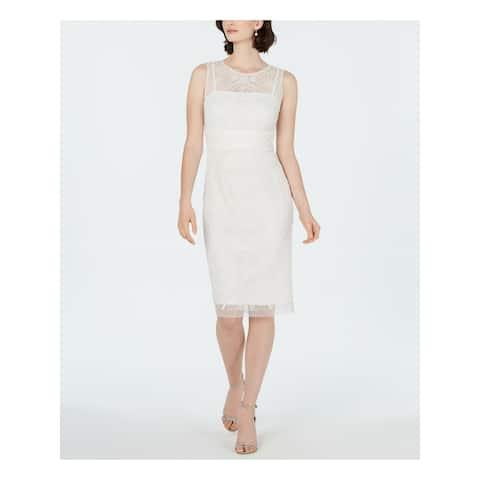 ADRIANNA PAPELL Ivory Sleeveless Knee Length Dress 10