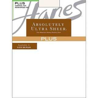 Hanes Plus Absolutely Ultra Sheer Control Top, Reinforced Toe Pantyhose - Size - 4-5P - Color - Pearl