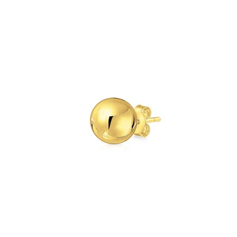 Tiny Round Ball Stud Earring Cartilage Real Yellow Gold 3 4 5MM