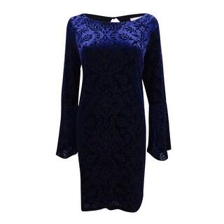 Eci Women's Velvet Shift Dress - Navy/Black