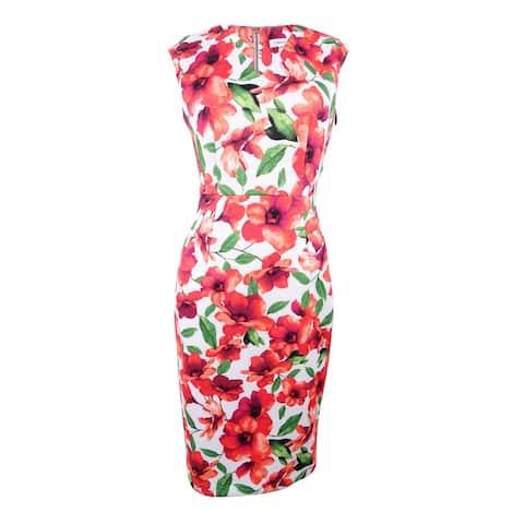 competitive price 24c71 30650 Calvin Klein Women s Printed V-Neck Sheath Dress - Hibiscus Multi
