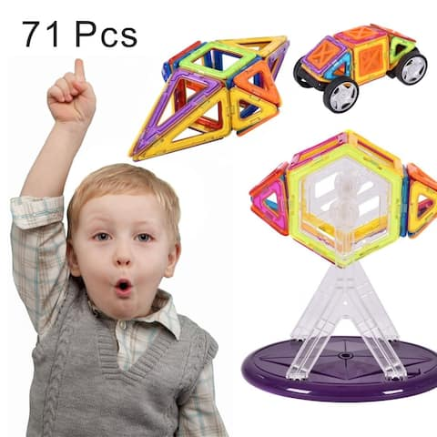 Costway 71 Pcs Magical Magnetic Construction Building Blocks Educational Toys For Kids - AS PIC