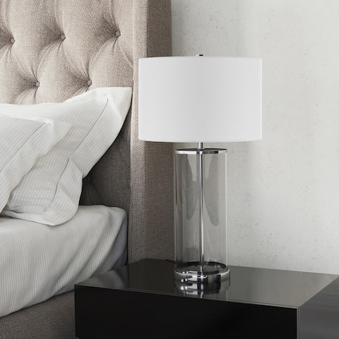 Rowan Classic Glass Table Lamp with Linen Shade (Optional Finishes)