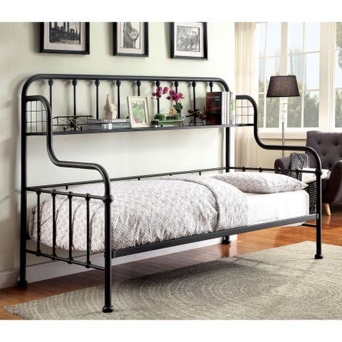 Furniture of America Kosa Contemporary Black Metal Daybed with Shelf