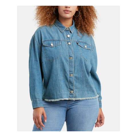 LEVI'S Womens Blue Long Sleeve Collared Button Up Top Size 1X