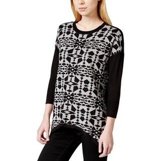 Kensie Womens Pullover Sweater Geometric Print Stretch - L