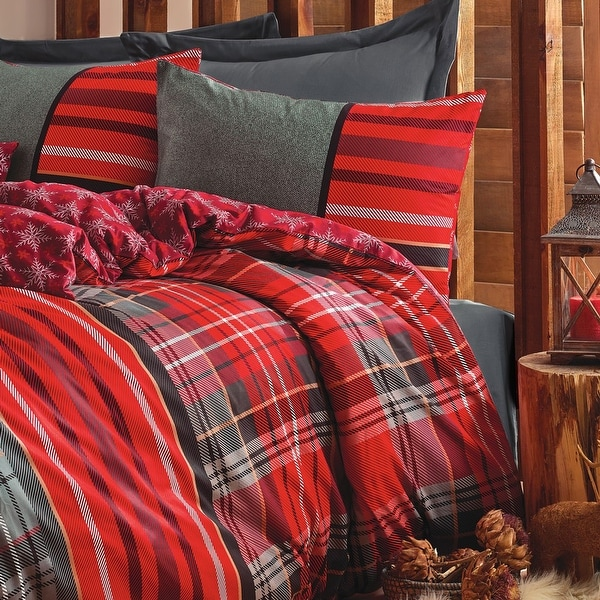 SUSSEXHOME Christmas Carol Stars Duvet Cover Set Red, Hypoallergenic