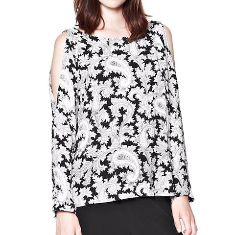 French Connection Womens Paisley Party Top, Black Multi, 6 Apparel