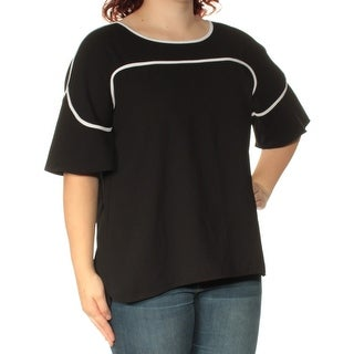 Womens Black Short Sleeve Boat Neck Casual Top Size 16