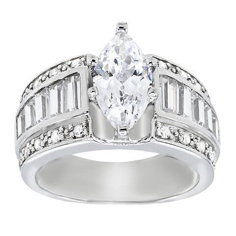 7.97 carat Cubic Zirconia Marquise Cut Center Stone Solitaire Engagement Ring