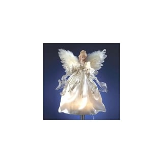 """12"""" Off-White and Gold Lighted Angel Christmas Tree Topper - Clear Lights"""