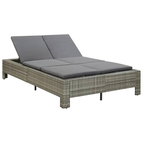 vidaXL 2-Person Sunbed with Cushion Gray Poly Rattan