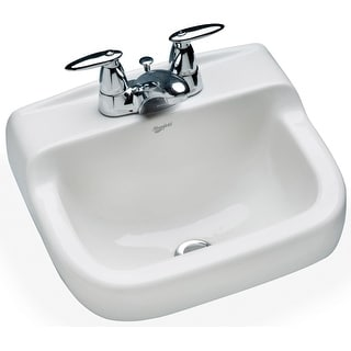 """Mansfield 1613NS-4  Spruce Cove 16-1/8"""" Vitreous China Wall Mounted Bathroom Sink with 3 Faucet Holes at 4"""" Centers and Overflow"""