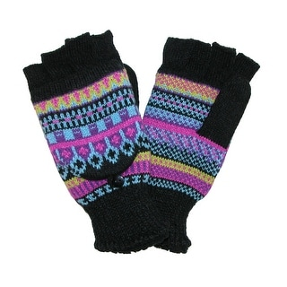 Manzella Women's Fairisle Convertible Fingerless Gloves to Mittens - black laser - One Size