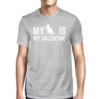 My Cat My Valentine Men's Heather Grey T-shirt Creative V-day Gifts