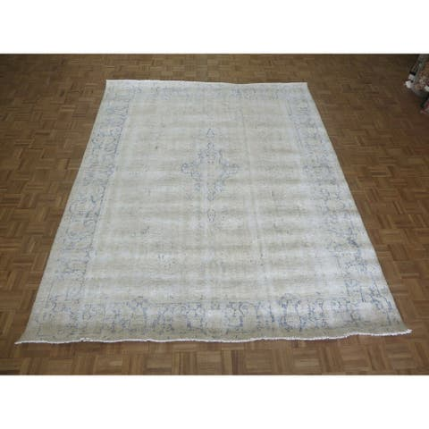 """Hand Knotted Beige Overdyed with 100% Wool Oriental Rug (8'3"""" x 10'4"""") - 8'3"""" x 10'4"""""""