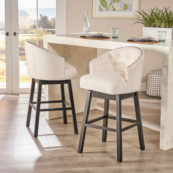 Ogden Beige Swivel Bar Stools (Set of 2) by Christopher Knight Home