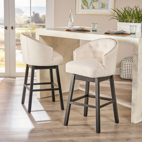 Ogden Beige Swivel Bar Stools (Set of 2) by Christopher Knight Home. Opens flyout.