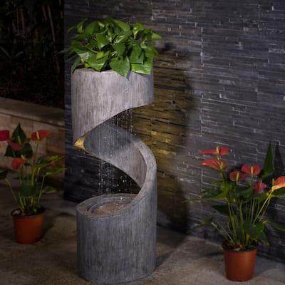 Glitzhome Modern Minimalist Curving LED Polyresin Fountain