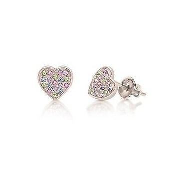 New 925 Sterling Silver White Gold Tone Heart Screwback Children's Earring