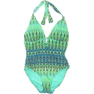 Bleu Rod Beattie Womens Printed Halter One-Piece Swimsuit - 6