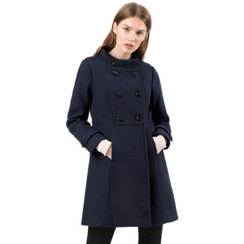 Women's Stand Collar Double Breasted Winter Outwear A-Line Coat