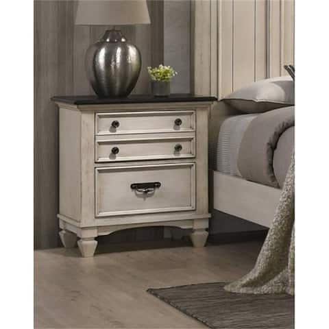 Bedroom Wood Nightstand,End Table With 2 Drawers 2-Tone Finish
