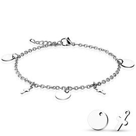 Round and Cross Dangling Charms 316L Stainless Steel Chain Anklet/Bracelet (13.5 mm) - 9.25 in