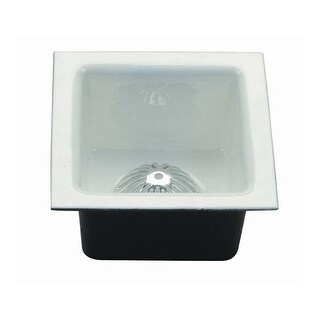 "ProFlo PF906K 12"" x 12"" Enameled Cast Iron Floor Sink with Aluminum Strainer"