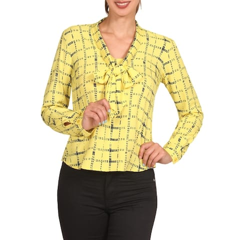 NE PEOPLE Womens Cuffed Long Sleeve Plaid Front Tie Bow Blouse Tops