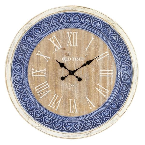"Aspire Home Accents 5919 Manderly 29-1/2"" Diameter Wood Analog Clock - White"