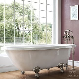 clawfoot tub foot pads. Pelham  White Luxury 54 Inch Clawfoot Tub with Nickel Ball and Claw Feet Foot Tubs For Less Overstock