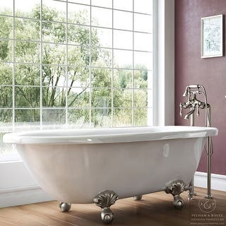 Pelham White Luxury 54 Inch Clawfoot Tub With Nickel Ball And Claw Feet