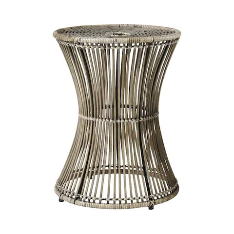 """19"""" Black and Brown Rattan with Iron Recalibrate Accent Table"""