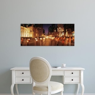 Easy Art Prints Panoramic Image 'Traffic on road at dusk, Michigan Avenue, Chicago, Cook County, Illinois' Canvas Art