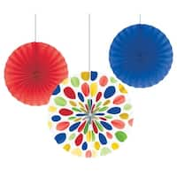 """Club Pack of 18 Multi color Hanging Tissue Paper Fan Party Decorations 16"""" - Red"""