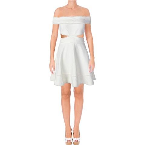 Cinq a Sept Womens Vanessa Party Dress Fringe Cut-Out