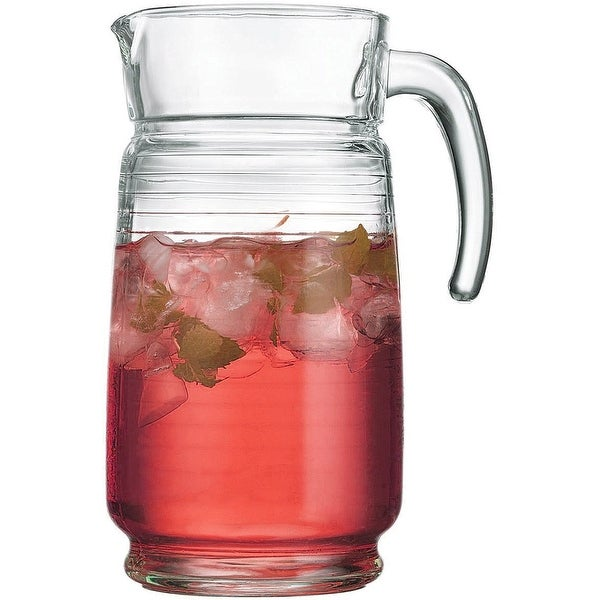 Palais Glassware 64 Ounce Capacity Clear Glass Pitcher (Striped Design)