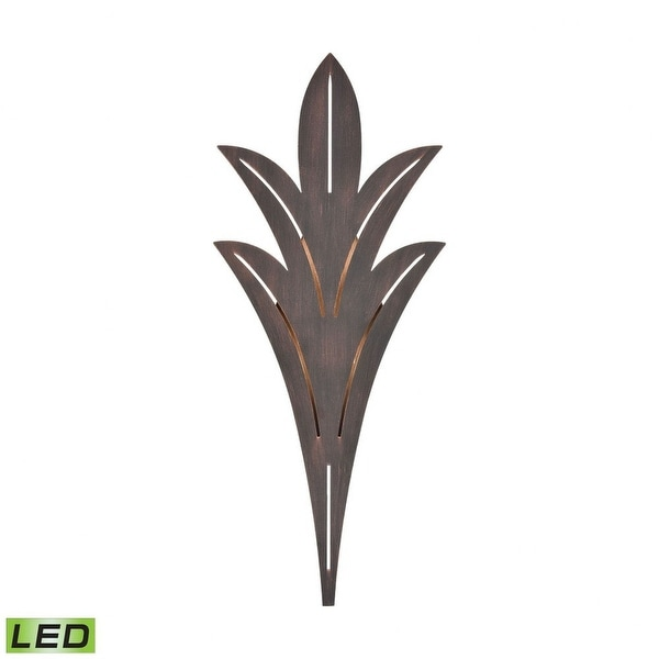 Palm Leaf Tropical Style Porch Light - 32 Inch 22W 1 LED Outdoor Flush Mount Wall Lantern Bronze Rust Finish With Laser. Opens flyout.