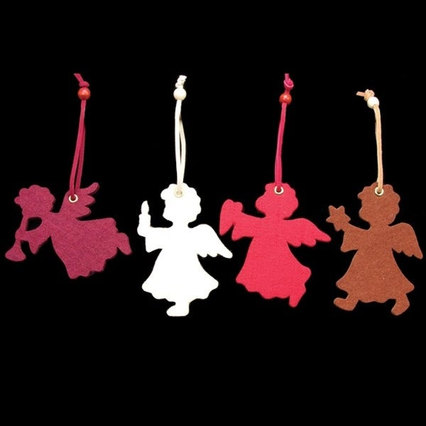 Club Pack of 24 Angels Holding a Heart, Candle, Star and Flute Assorted Colors Felt Ornaments - multi