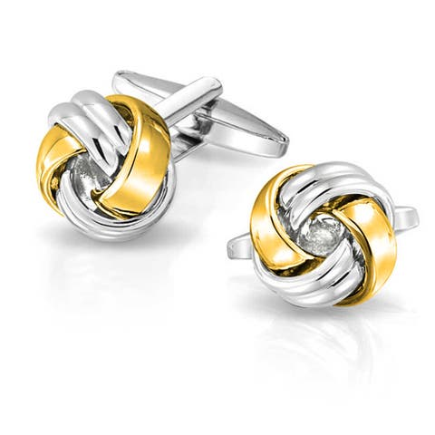 Knot Woven Rope Twist Shirt Cufflinks Gold Plated Stainless Steel