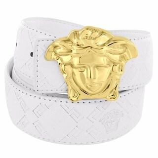 """Medusa Face Buckle White Leather Belt 46"""" Greek Myth Hip Hop Mens"""