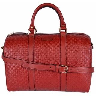 """Gucci Red Leather Micro GG Guccissima Convertible Boston Satchel Purse Bag - 13"""" x 9.5"""" x 7"""""""