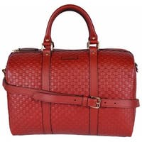 "Gucci Red Leather Micro GG Guccissima Convertible Boston Satchel Purse Bag - 13"" x 9.5"" x 7"""