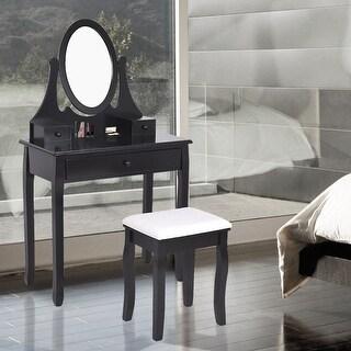Costway Wooden Vanity Makeup Dressing Table Stool Set bathroom Black