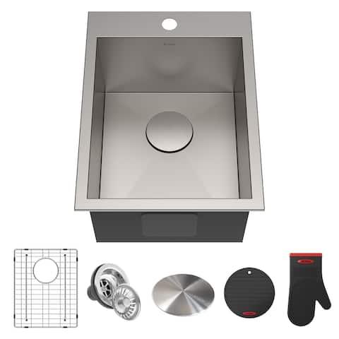 KRAUS Pax Stainless Steel 15 inch 1-Bowl Drop-in Kitchen Sink